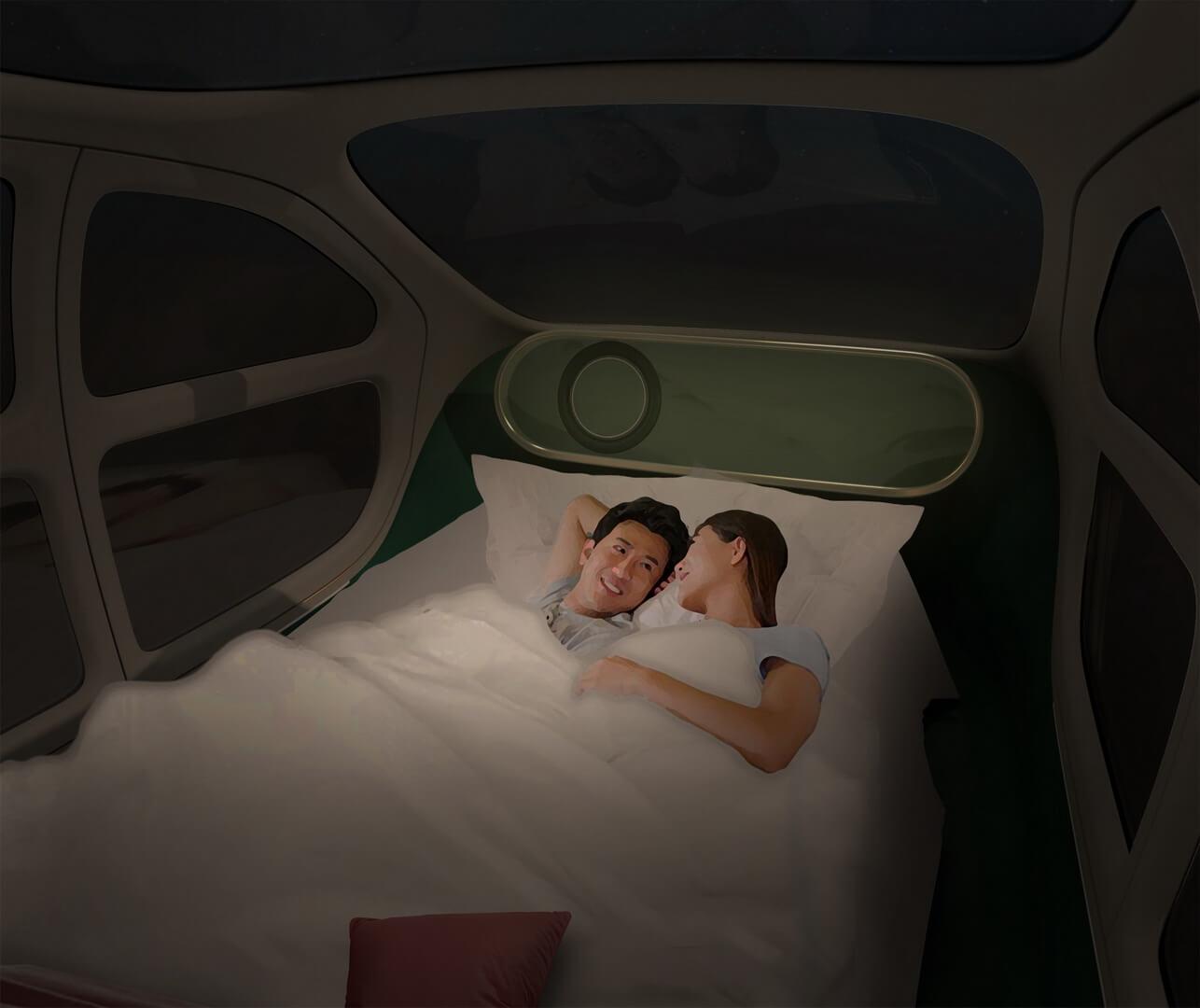 Интерьер автомобиля также можно превратить в спальню, так как сиденья полностью откидываются, образуя двуспальную кровать