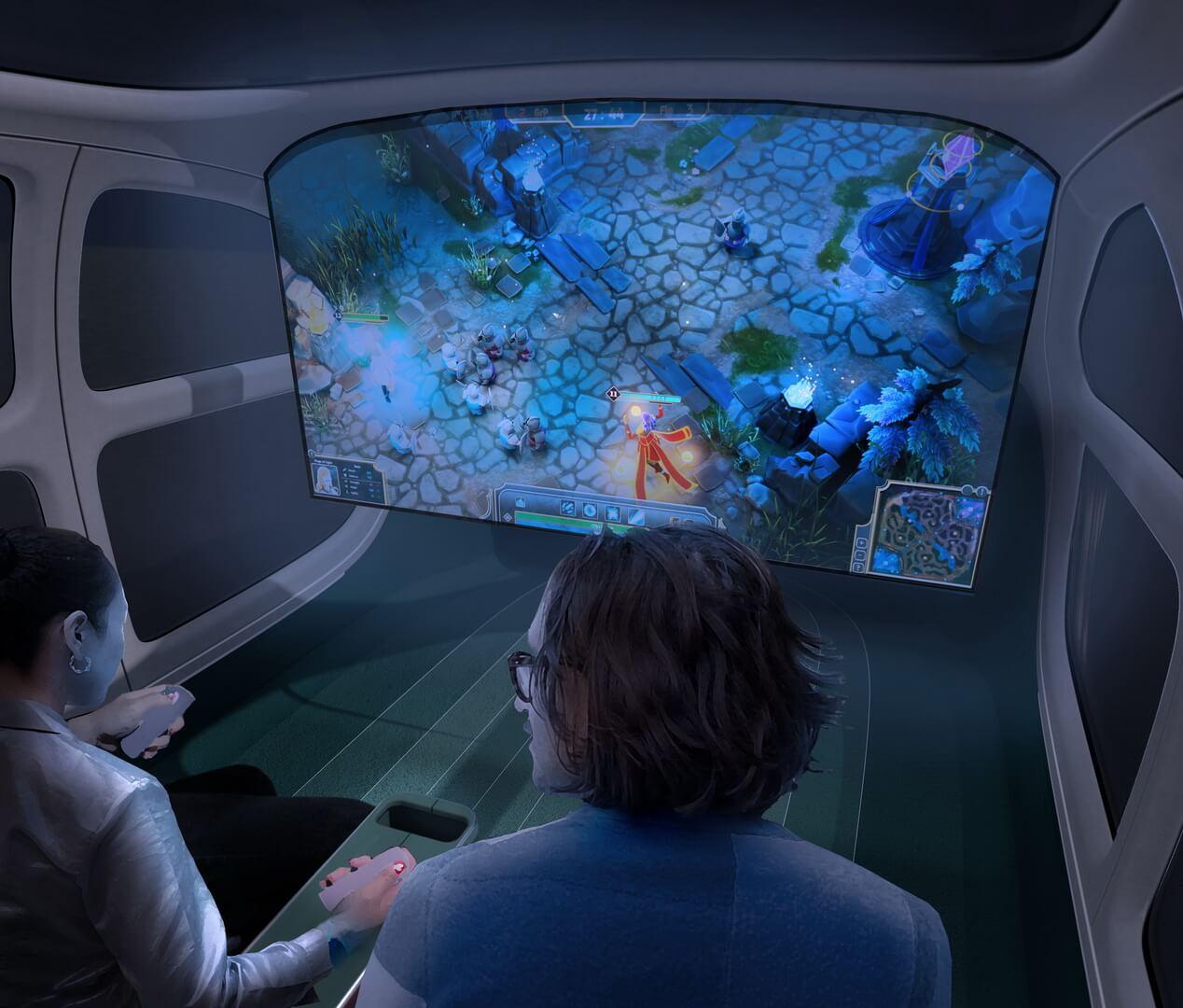 В Салоне можно развернуть экран для просмотра фильмов или игр