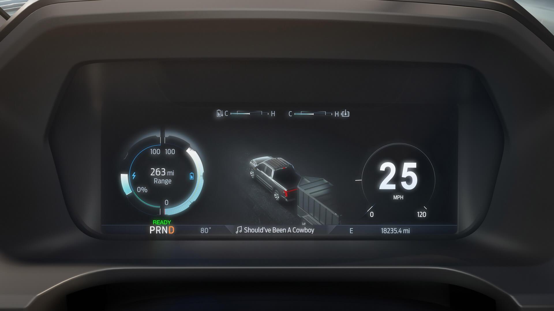 12-дюймовая приборная панель снастраиваемым интерфейсом Ford F-150 Lightning