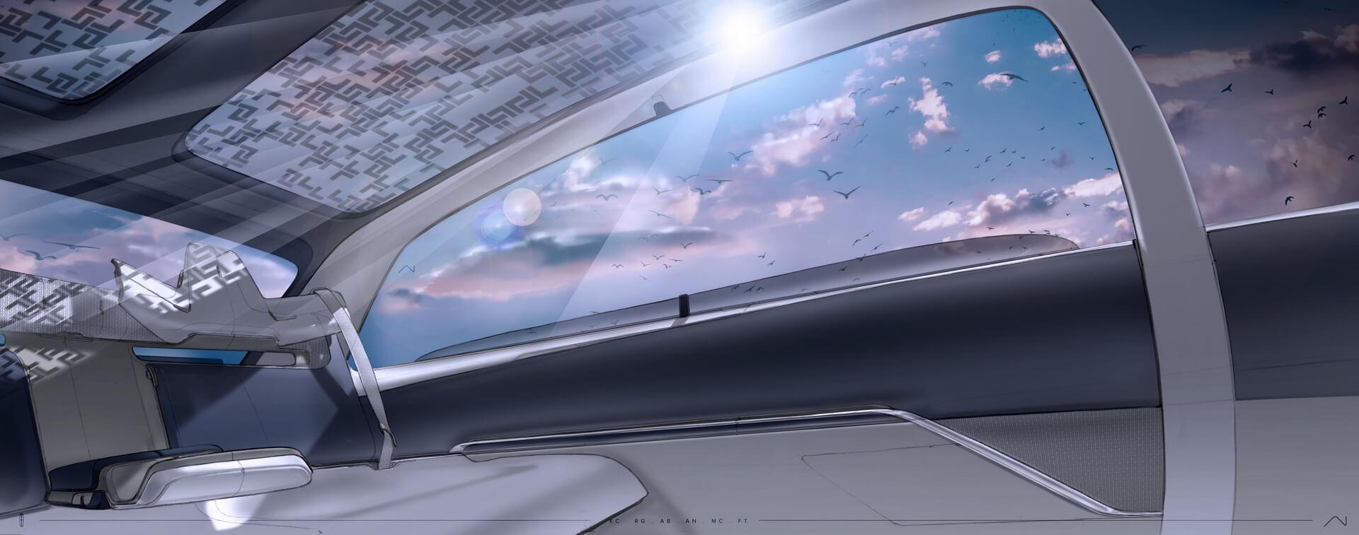 Первое тизерное изображение панорамной крыши электромобиля Lincoln