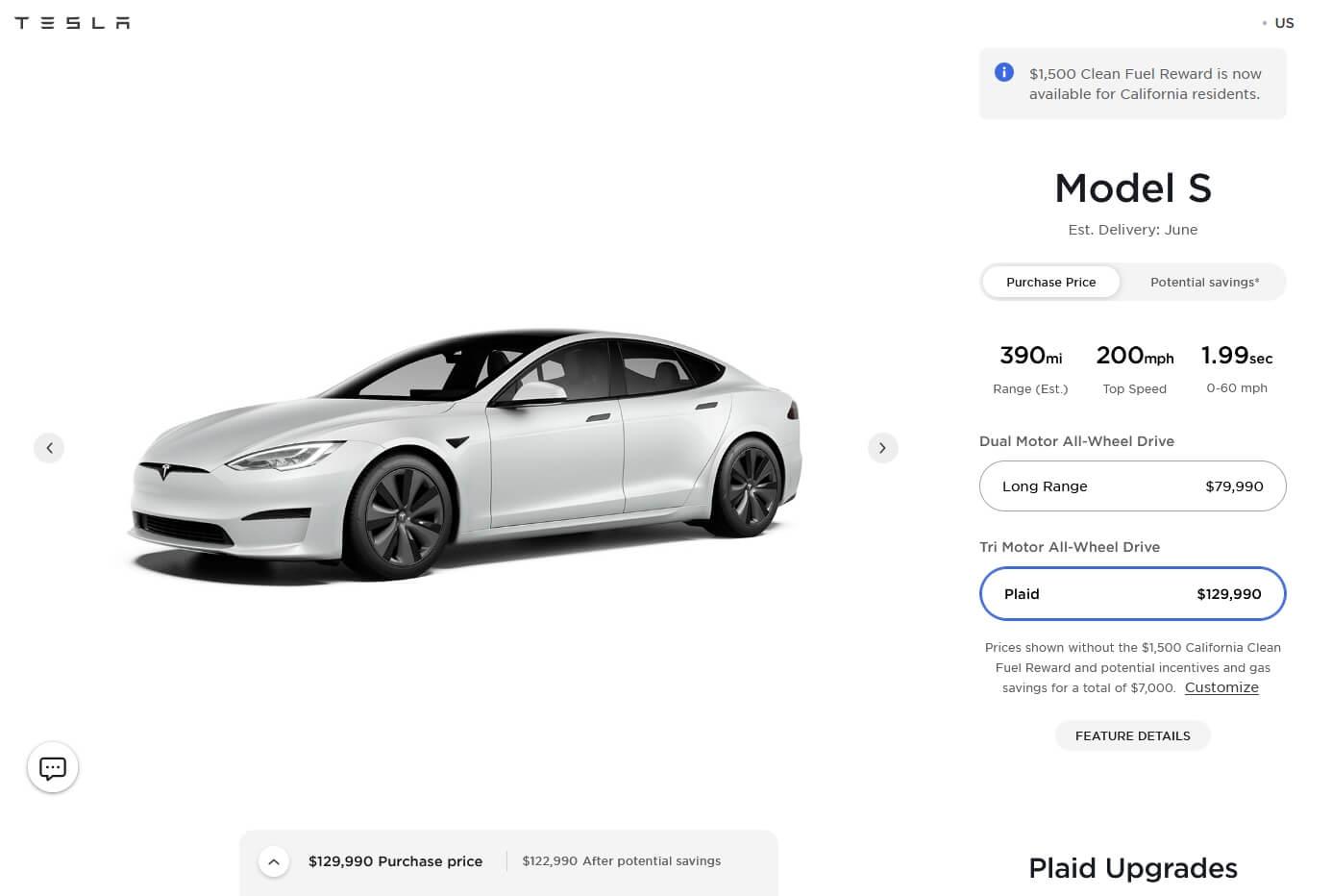 Tesla увеличивает цену Model SPlaid на$10000 перед поставками