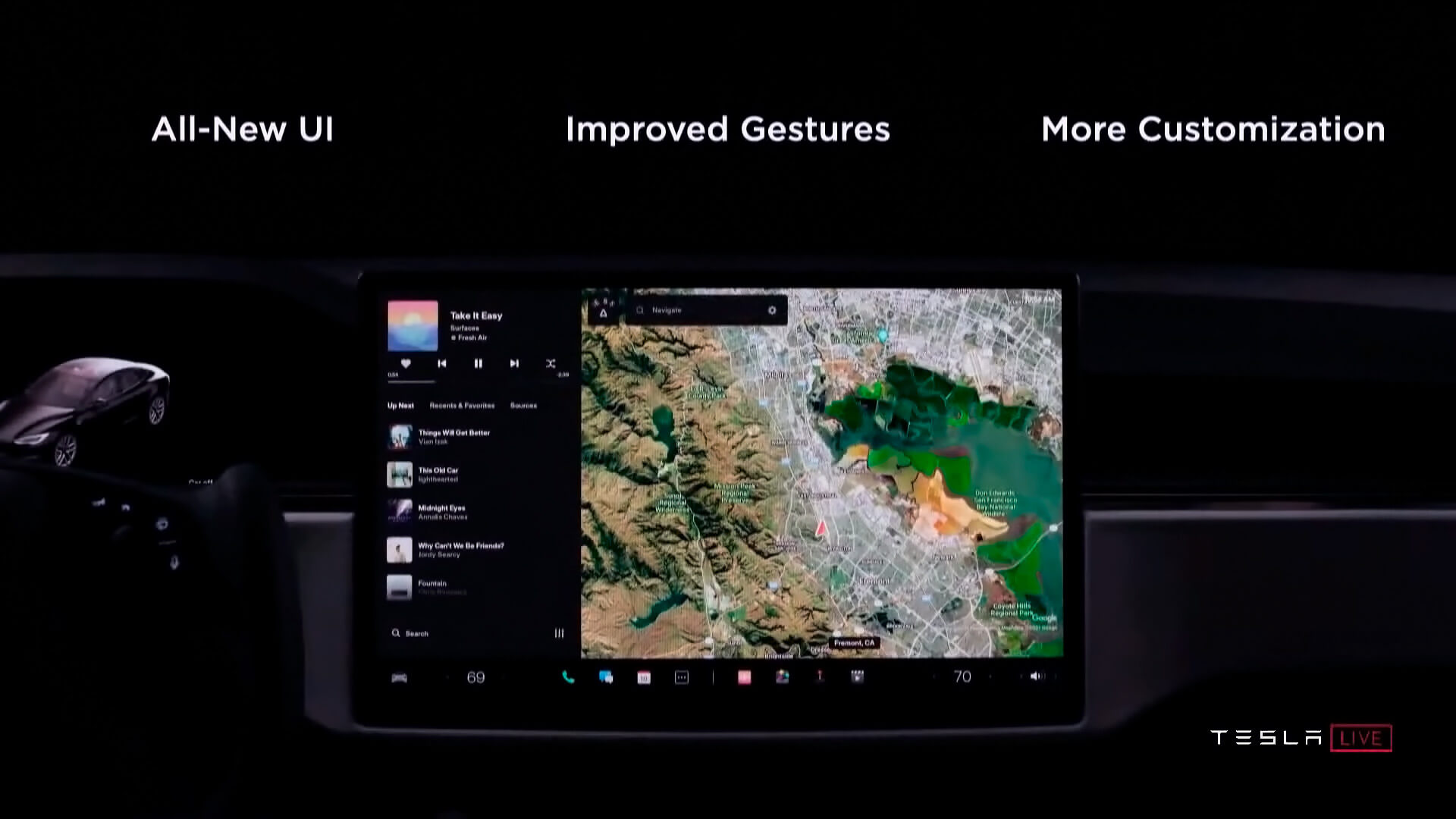 Новый пользовательский интерфейс Model S Plaid, который, вероятно, будет представлен в версии 11