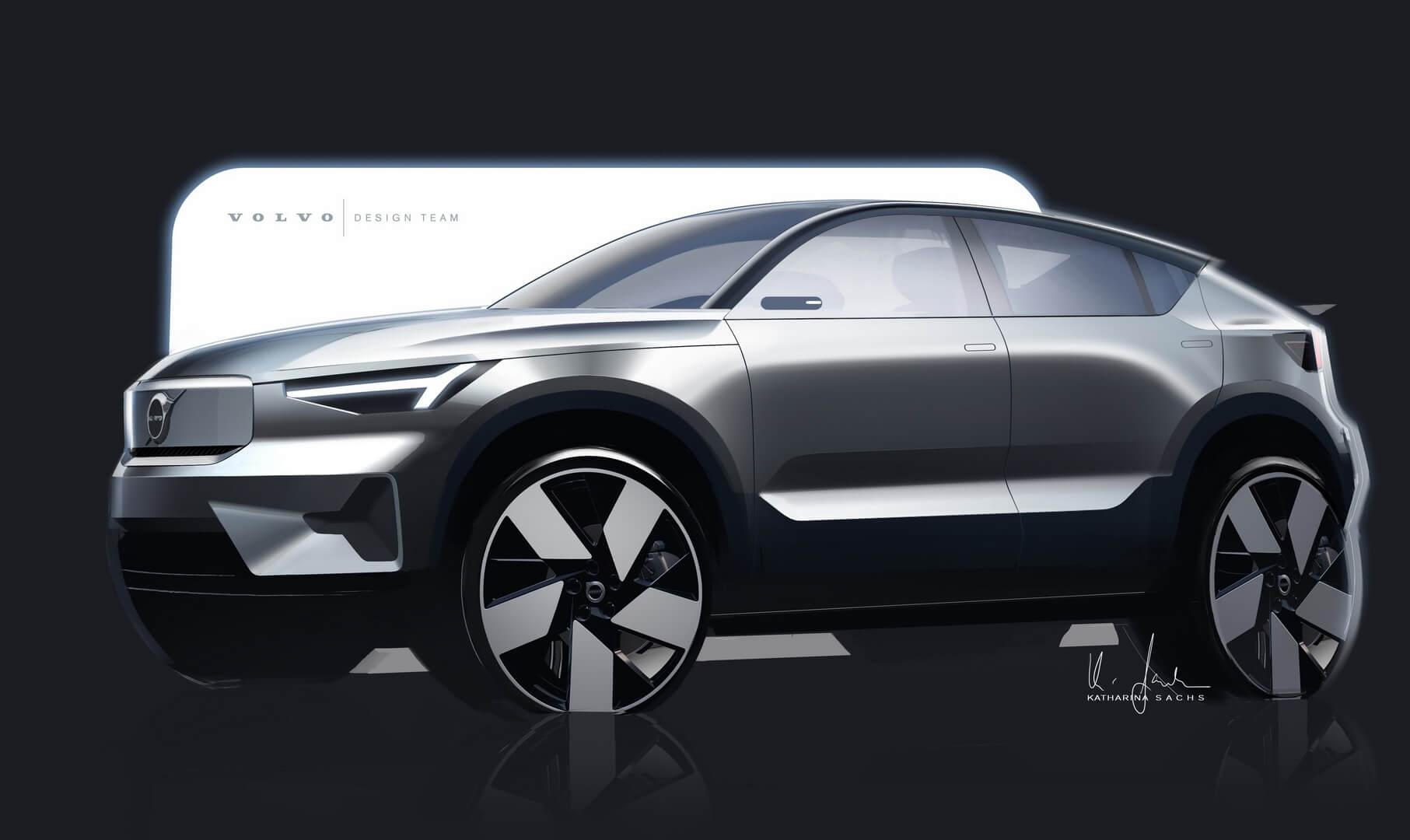 Эскиз дизайна электрического кроссовера Volvo C40 Recharge