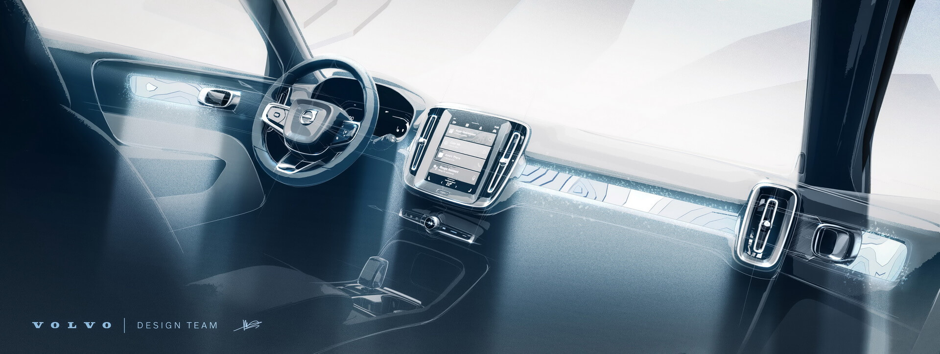 Эскиз интерьера электрокроссовера Volvo C40 Recharge