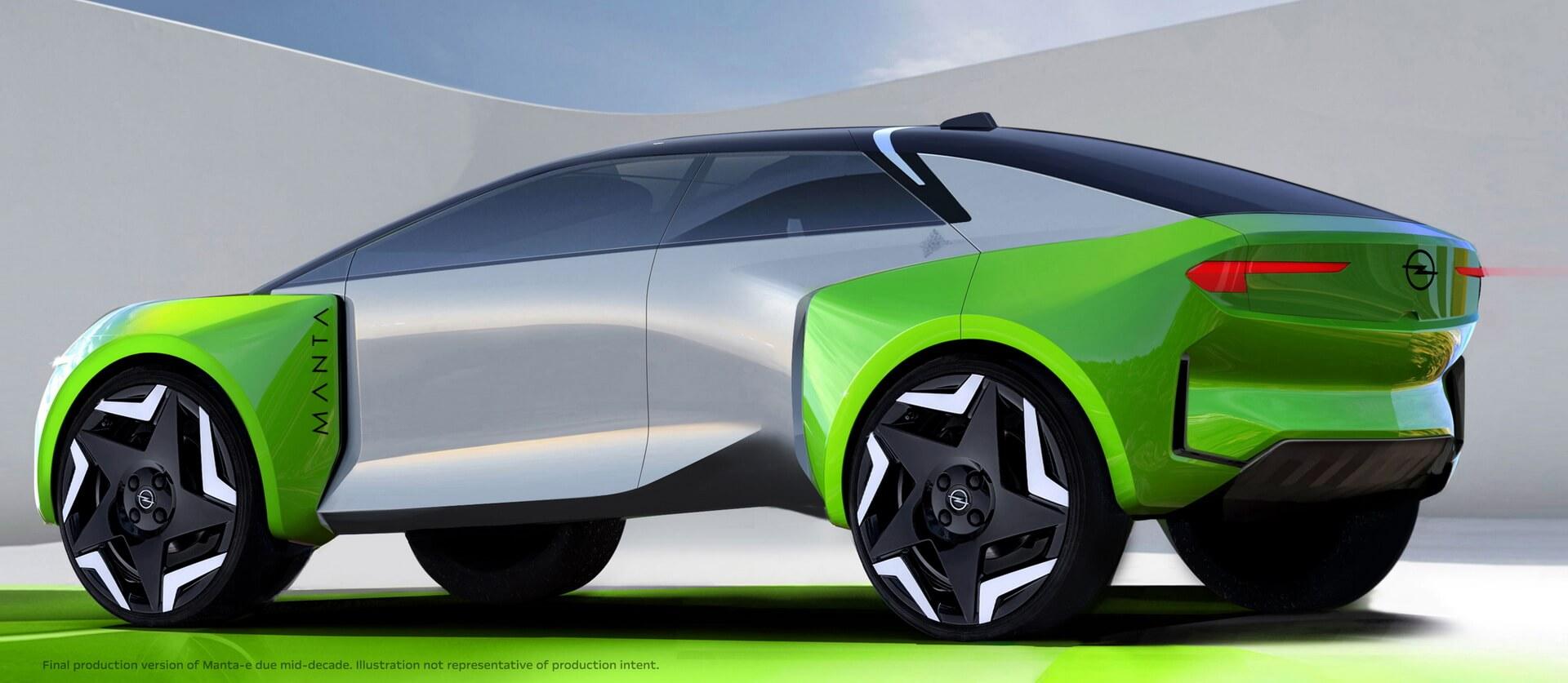 Компания Opel выпустила эскиз Manta-e, который показывает автомобиль как четырехдверное купе-кроссовер
