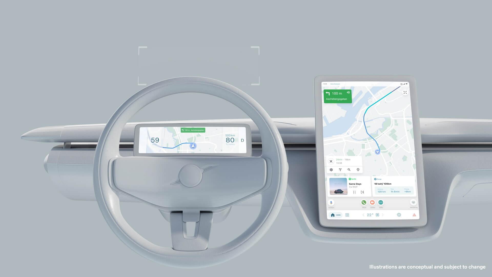 Будущие автомобили Volvo также оснастят большим централизованным сенсорным экраном