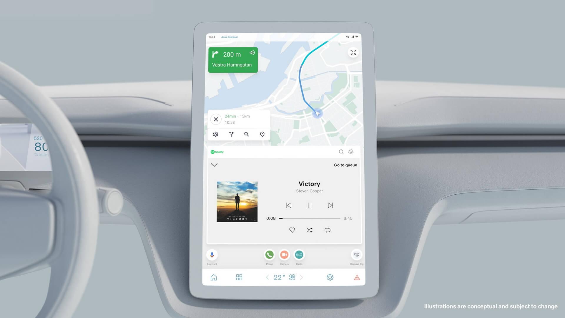 Центральный сенсорный экран будущих электромобилей Volvo