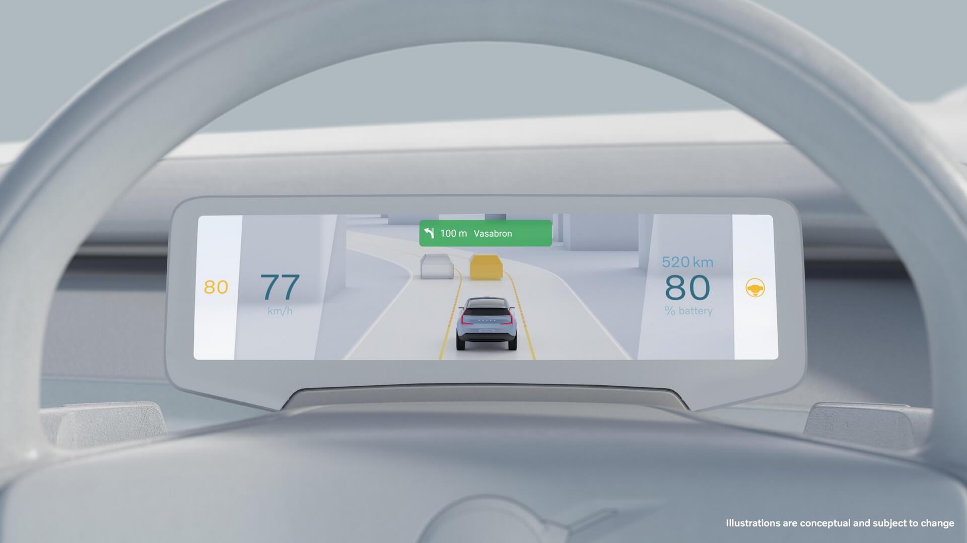 Информационный экран будущих электромобилей Volvo