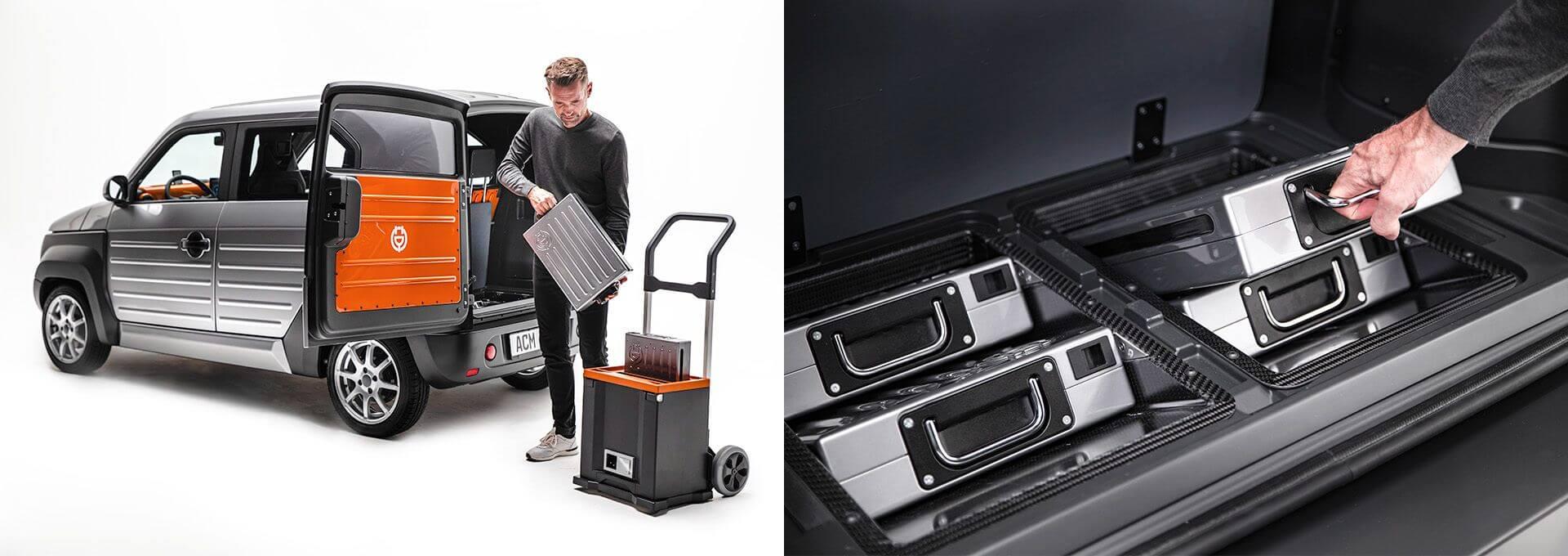 Батарея емкостью 24 кВт⋅ч разделена, имея фиксированную и съемную части