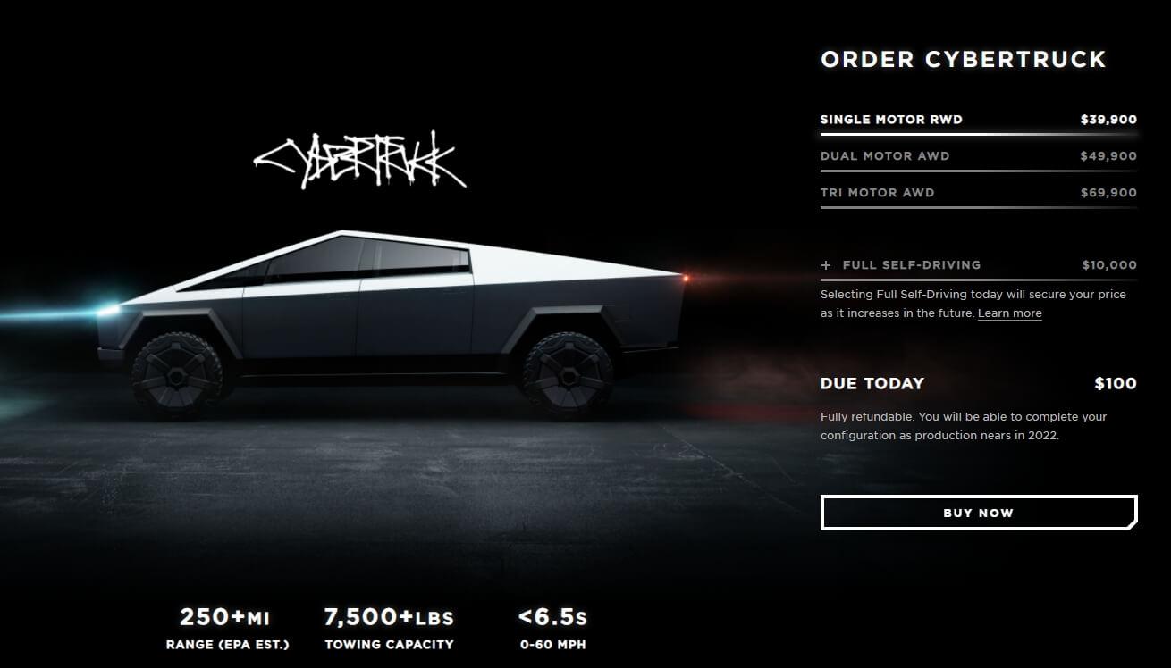 На странице заказа Cybertruck Tesla обновила примечание, что конфигуратор будет доступен когда «производство приблизится к 2022 году»
