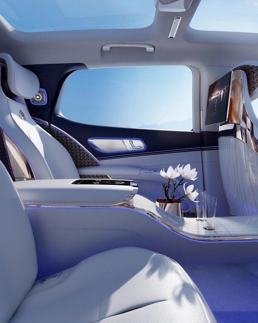 В интерьере Mercedes-Maybach EQS модный прогрессивный текстиль высочайшего качества