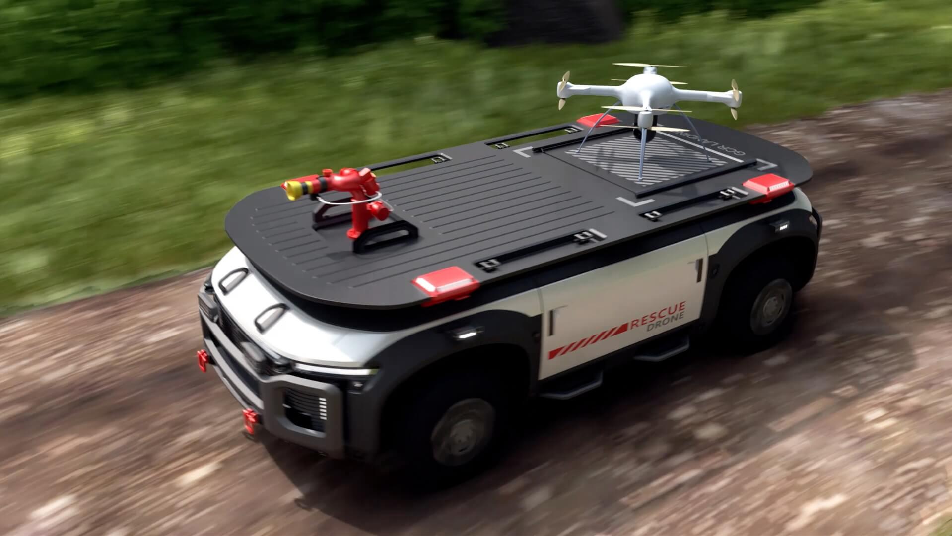 Спасательный дрон на автономной тележке Fuel Cell e-Bogie